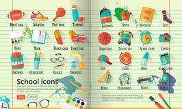 Grande illustration d'école sur la ligne papier de carnet Les graphismes d'éducation ont placé De nouveau au fond créatif d'école Photo libre de droits