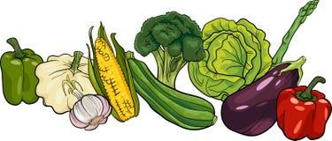 Grande illustration de bande dessinée de groupe de légumes Photographie stock libre de droits