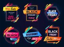 Grande illustration de vecteur d'autocollants de Black Friday de vente Illustration Libre de Droits