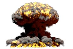 Grande illustration du souffle 3D d'explosion détaillée de champignon atomique du feu avec des flammes et de fumée, il ressemble  illustration libre de droits