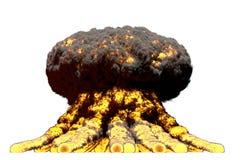 Grande illustration du souffle 3D d'explosion détaillée de champignon atomique du feu avec des flammes et de fumée, il ressemble  illustration stock