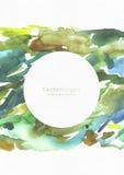 Grande illustration grenue avec la texture d'aquarelle sur le papier blanc d'aquarelle avec le support des textes de cercle Calib Image stock