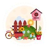 Grande illustration réglée de jardin et de ferme Image libre de droits