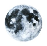 Grande illustrazione della luna dell'acquerello illustrazione di stock