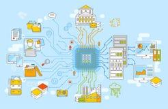 Grande illustrazione di vettore di concetto di dati Raccolta di informazioni, elaborazione dei dati, analysys di informazioni, ar illustrazione di stock