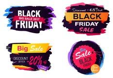 Grande illustrazione di vettore degli autoadesivi di vendita di Black Friday Fotografia Stock