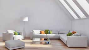 grande illustrazione luminosa moderna di lusso 3D del salone degli interni fotografie stock libere da diritti