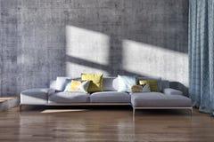 grande illustrazione luminosa moderna di lusso 3D del salone degli interni illustrazione di stock