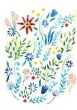 Grande ilustra??o ajustada da aquarela Cole??o bot?nica de plantas selvagens e de jardim Ajuste: folhas, flores, ramos, ervas ilustração do vetor