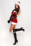 Grande image de Santa de fille sexy d'aide pour créer des cartes postales de salutation de vacances Photographie stock