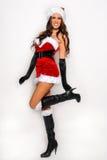 Grande image de Santa de fille sexy d'aide pour créer des cartes postales de salutation de vacances Photographie stock libre de droits