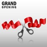 Grande inauguração com fita e as tesouras vermelhas Imagens de Stock Royalty Free