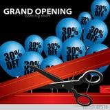 Grande inauguração da loja - cortando a fita vermelha ilustração royalty free