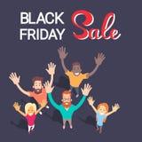 Grande insegna di acquisto di Black Friday di vendita del gruppo emozionante della gente Fotografie Stock