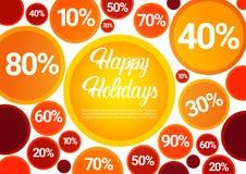 Grande insegna di acquisto di vendita di sconto felice di feste Fotografie Stock