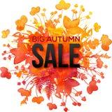 Grande insegna di Autumn Sale della spruzzata arancio del fogliame Fotografie Stock