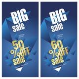 Grande insegne di vendita 50 e 60 per cento fuori dal fondo del blu dell'oro illustrazione vettoriale