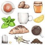Grande insieme con tè, caffè, i biscotti ed il croissant royalty illustrazione gratis