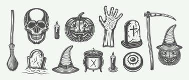 Grande insieme d'annata di Halloween della scopa, cranio, zucca, mano, tombe Immagini Stock