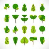 Grande insieme degli alberi pianamente illustrazione vettoriale