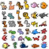 Grande insieme degli animali del fumetto, vettore Immagini Stock