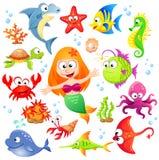 Grande insieme degli animali di mare del fumetto e della sirena svegli Immagine Stock