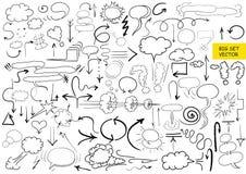 Grande insieme degli elementi comici, disegnato a mano, frecce, scarabocchio di vettore Immagine Stock