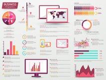 Grande insieme degli elementi di Infographic di affari Fotografia Stock