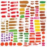 Grande insieme degli elementi di progettazione dell'inchiostro delle spazzole Disegnato a mano con il watercol Fotografie Stock Libere da Diritti