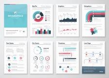 Grande insieme degli elementi di vettore e degli opuscoli infographic di affari Fotografie Stock Libere da Diritti
