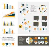 Grande insieme degli elementi infographic piani Fotografia Stock Libera da Diritti