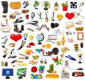 Grande insieme degli oggetti su bianco Fotografie Stock