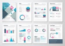 Grande insieme degli opuscoli di affari e degli elementi infographic di vettore Fotografia Stock Libera da Diritti