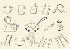 Grande insieme degli strumenti isolati della cucina Fotografie Stock Libere da Diritti