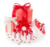 Grande insieme dei contenitori di regalo con i nastri e l'arco Immagine Stock