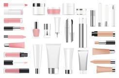 Grande insieme dei contenitori e delle bottiglie cosmetici Fotografie Stock Libere da Diritti