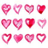 Grande insieme dei cuori rosa dell'acquerello Vettore Fotografie Stock