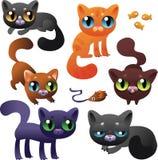 Grande insieme dei gatti del fumetto Fotografie Stock