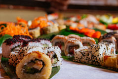 Grande insieme dei sushi fotografia stock libera da diritti