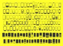 Grande insieme dei telefoni cellulari differenti dell'estratto 100 Immagine Stock