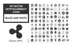 Grande insieme del cryptocurrency in bianco e nero di vettore Fotografia Stock