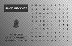 Grande insieme del cryptocurrency in bianco e nero di vettore Immagini Stock Libere da Diritti