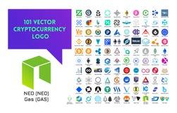 Grande insieme del logo variopinto di cryptocurrency di vettore Fotografia Stock Libera da Diritti