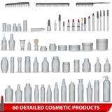 Grande insieme del pacchetto cosmetico bianco e in bianco del prodotto Fotografia Stock Libera da Diritti