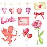 Grande insieme dell'acquerello con lo symbolics del giorno del ` s del biglietto di S. Valentino della st illustrazione vettoriale