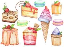 Grande insieme dell'acquerello dei dessert Illustrazione disegnata a mano illustrazione di stock