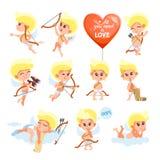 Grande insieme dell'icona degli angeli del fumetto su bianco Fotografie Stock