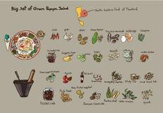 Grande insieme dell'insalata della papaia Fotografia Stock