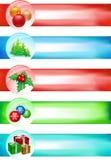 Grande insieme della bandiera di natale illustrazione vettoriale