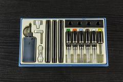 Grande insieme della penna tecnica per i disegni tecnici per il motore Fotografie Stock Libere da Diritti